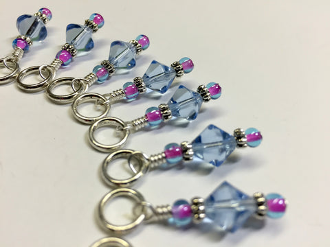 Blue Cloud Knitting Stitch Marker Set , Stitch Markers - Jill's Beaded Knit Bits, Jill's Beaded Knit Bits  - 4
