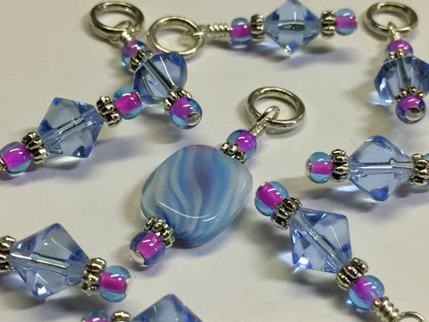 Blue Cloud Knitting Stitch Marker Set , Stitch Markers - Jill's Beaded Knit Bits, Jill's Beaded Knit Bits  - 3