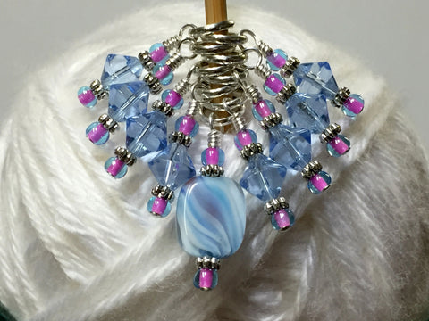 Blue Cloud Knitting Stitch Marker Set , Stitch Markers - Jill's Beaded Knit Bits, Jill's Beaded Knit Bits  - 2