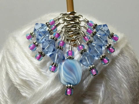 Blue Cloud Knitting Stitch Marker Set , Stitch Markers - Jill's Beaded Knit Bits, Jill's Beaded Knit Bits  - 5