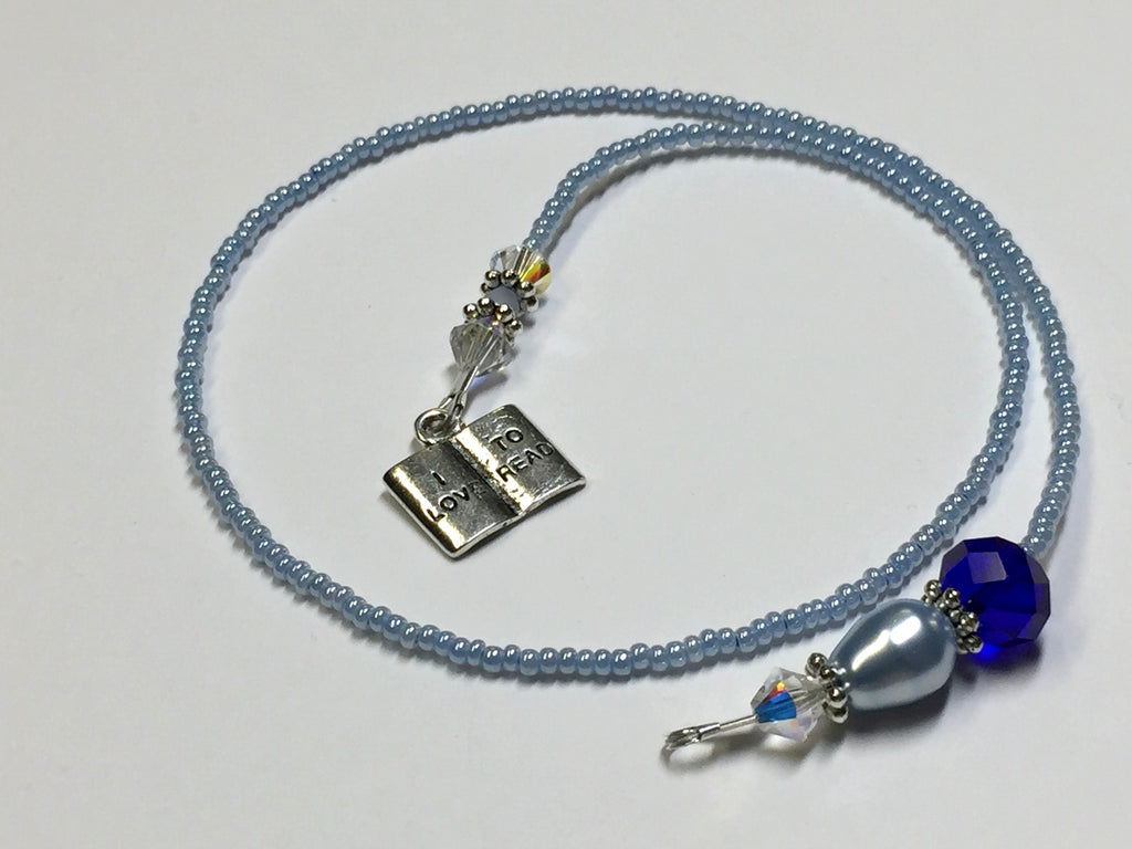 Blue Beaded Bookmark- Book Jewelry , Accessories - Jill's Beaded Knit Bits, Jill's Beaded Knit Bits  - 1
