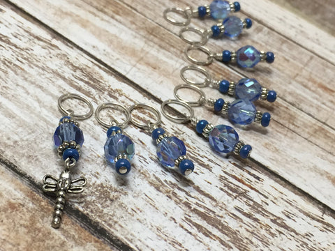 Blue Dragonfly Beaded Stitch Marker Set- Snag Free , stitch markers - Jill's Beaded Knit Bits, Jill's Beaded Knit Bits  - 4