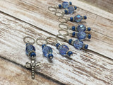 Blue Dragonfly Beaded Stitch Marker Set- Snag Free , stitch markers - Jill's Beaded Knit Bits, Jill's Beaded Knit Bits  - 5