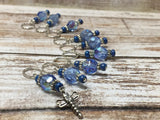 Blue Dragonfly Beaded Stitch Marker Set- Snag Free , stitch markers - Jill's Beaded Knit Bits, Jill's Beaded Knit Bits  - 6