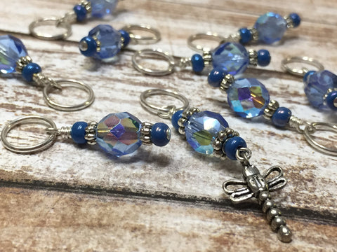 Blue Dragonfly Beaded Stitch Marker Set- Snag Free