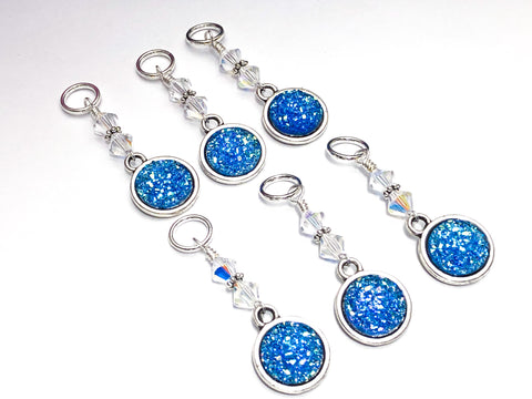 Snag Free Blue Glitter Stitch Marker Charms- Gift for Knitters