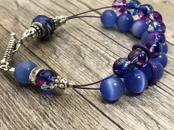 Blueberry Abacus Counting Bracelet- Row Counter - Optional ADD 6 Stitch Markers