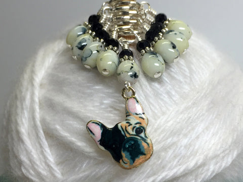 Boston Terrier Stitch Marker Set for Knitters , Stitch Markers - Jill's Beaded Knit Bits, Jill's Beaded Knit Bits  - 2