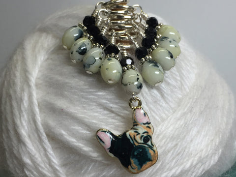 Boston Terrier Stitch Marker Set for Knitters , Stitch Markers - Jill's Beaded Knit Bits, Jill's Beaded Knit Bits  - 10