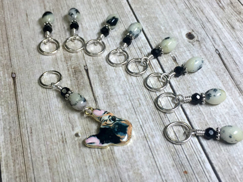 Boston Terrier Stitch Marker Set for Knitters , Stitch Markers - Jill's Beaded Knit Bits, Jill's Beaded Knit Bits  - 8