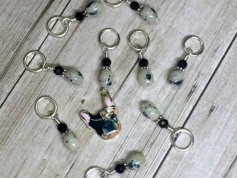 Boston Terrier Stitch Marker Set for Knitters , Stitch Markers - Jill's Beaded Knit Bits, Jill's Beaded Knit Bits  - 7