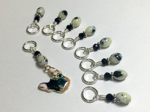 Boston Terrier Stitch Marker Set for Knitters , Stitch Markers - Jill's Beaded Knit Bits, Jill's Beaded Knit Bits  - 6