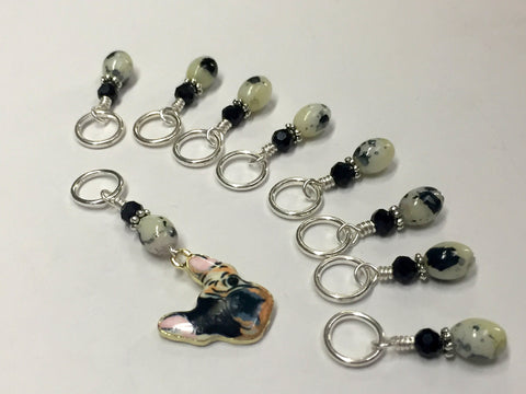 Boston Terrier Stitch Marker Set for Knitters , Stitch Markers - Jill's Beaded Knit Bits, Jill's Beaded Knit Bits  - 5