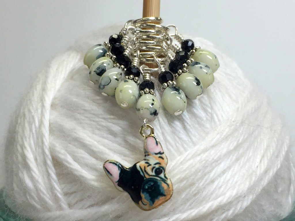 Boston Terrier Stitch Marker Set for Knitters , Stitch Markers - Jill's Beaded Knit Bits, Jill's Beaded Knit Bits  - 1