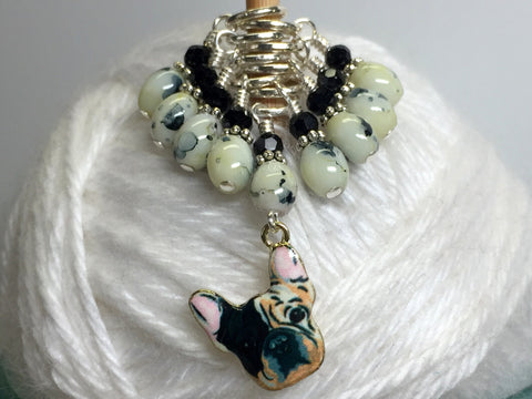 Boston Terrier Stitch Marker Set for Knitters , Stitch Markers - Jill's Beaded Knit Bits, Jill's Beaded Knit Bits  - 3