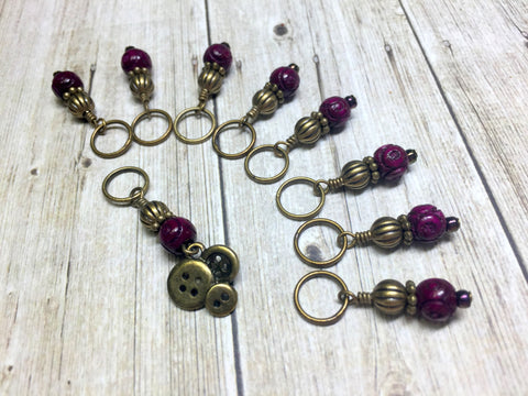 Brass Buttons Knitting Stitch Marker Set , Stitch Markers - Jill's Beaded Knit Bits, Jill's Beaded Knit Bits  - 3