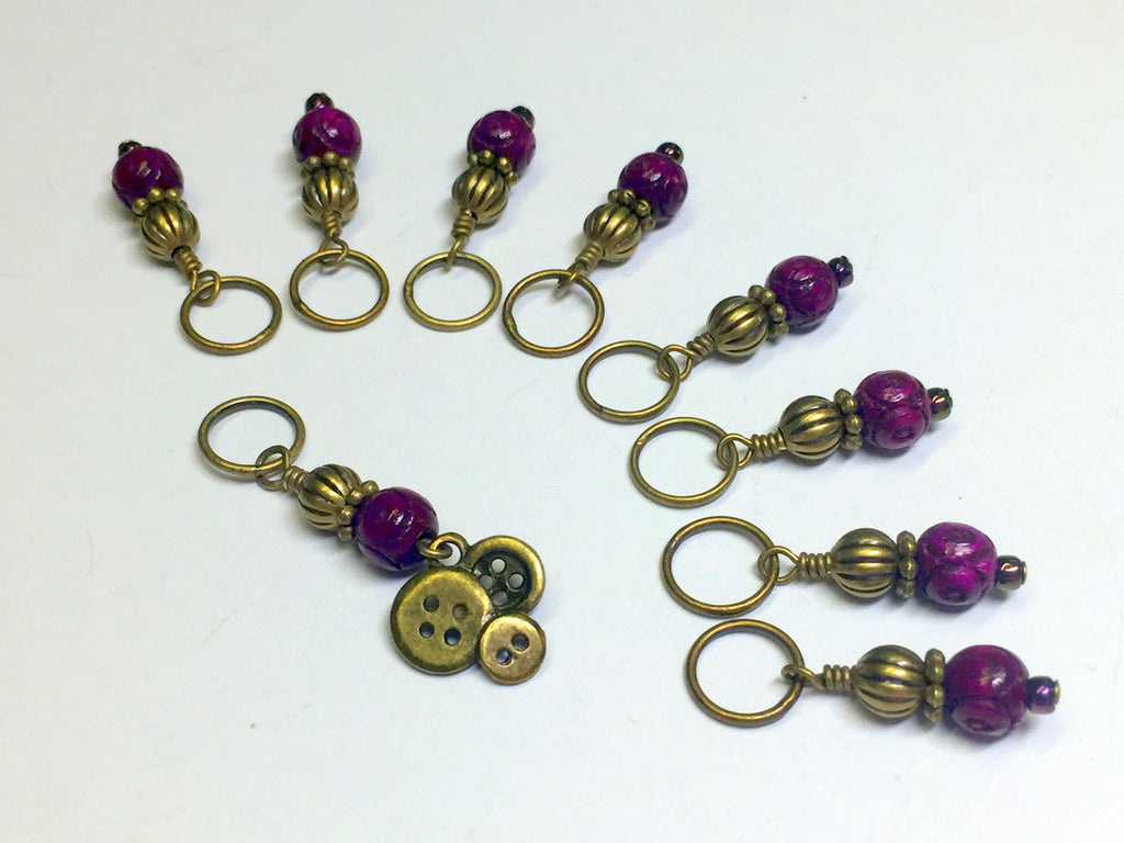 Brass Buttons Knitting Stitch Marker Set , Stitch Markers - Jill's Beaded Knit Bits, Jill's Beaded Knit Bits  - 1