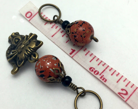 Antique Gold Cat Stitch Marker Jewelry Set- Orange Speckle , Stitch Markers - Jill's Beaded Knit Bits, Jill's Beaded Knit Bits  - 5