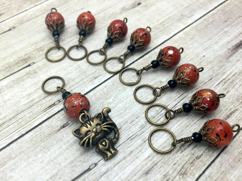 Antique Gold Cat Stitch Marker Jewelry Set- Orange Speckle , Stitch Markers - Jill's Beaded Knit Bits, Jill's Beaded Knit Bits  - 8