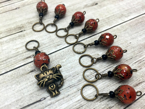 Antique Gold Cat Stitch Marker Jewelry Set- Orange Speckle , Stitch Markers - Jill's Beaded Knit Bits, Jill's Beaded Knit Bits  - 7