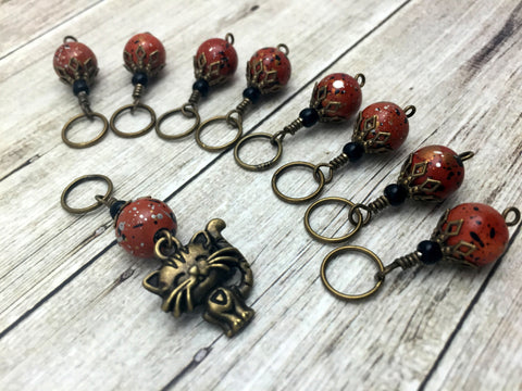 Antique Gold Cat Stitch Marker Jewelry Set- Orange Speckle , Stitch Markers - Jill's Beaded Knit Bits, Jill's Beaded Knit Bits  - 4