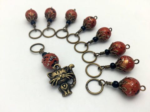 Antique Gold Cat Stitch Marker Jewelry Set- Orange Speckle , Stitch Markers - Jill's Beaded Knit Bits, Jill's Beaded Knit Bits  - 1