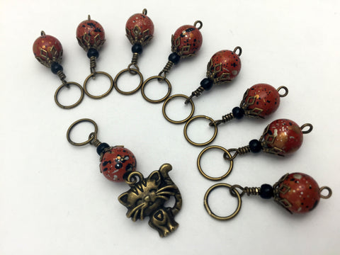 Antique Gold Cat Stitch Marker Jewelry Set- Orange Speckle , Stitch Markers - Jill's Beaded Knit Bits, Jill's Beaded Knit Bits  - 6