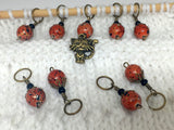 Antique Gold Cat Stitch Marker Jewelry Set- Orange Speckle , Stitch Markers - Jill's Beaded Knit Bits, Jill's Beaded Knit Bits  - 9