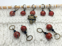 Antique Gold Cat Stitch Marker Jewelry Set- Orange Speckle , Stitch Markers - Jill's Beaded Knit Bits, Jill's Beaded Knit Bits  - 3