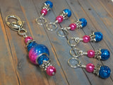 Pink and Blue Ombre Stitch Marker Set with Clip Holder , Stitch Markers - Jill's Beaded Knit Bits, Jill's Beaded Knit Bits  - 9
