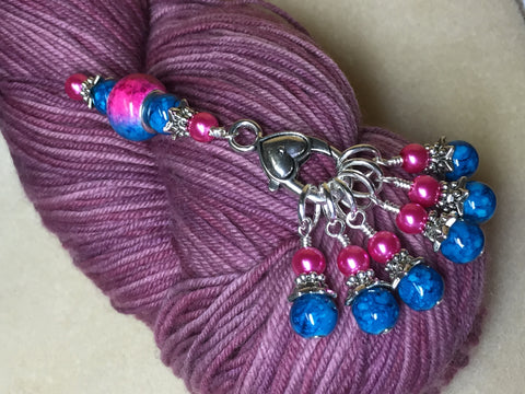 Pink and Blue Ombre Stitch Marker Set with Clip Holder