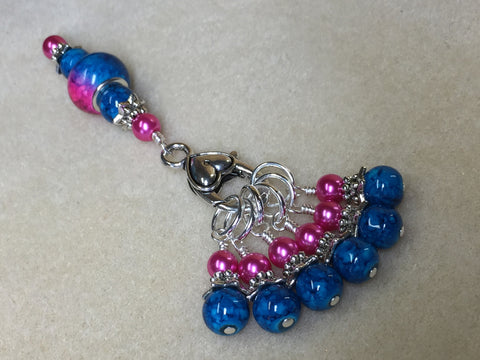 Pink and Blue Ombre Stitch Marker Set with Clip Holder , Stitch Markers - Jill's Beaded Knit Bits, Jill's Beaded Knit Bits  - 3