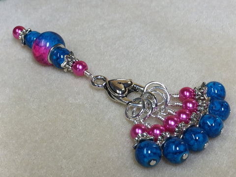 Pink and Blue Ombre Stitch Marker Set with Clip Holder , Stitch Markers - Jill's Beaded Knit Bits, Jill's Beaded Knit Bits  - 4