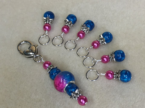 Pink and Blue Ombre Stitch Marker Set with Clip Holder , Stitch Markers - Jill's Beaded Knit Bits, Jill's Beaded Knit Bits  - 7