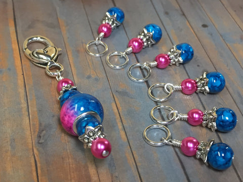 Pink and Blue Ombre Stitch Marker Set with Clip Holder , Stitch Markers - Jill's Beaded Knit Bits, Jill's Beaded Knit Bits  - 8