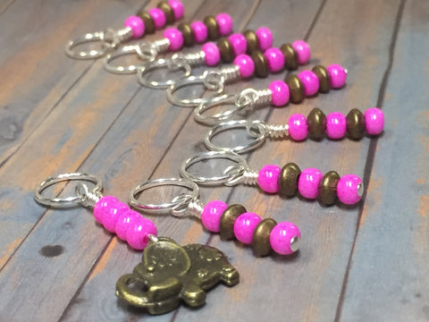 Pink Elephant Stitch Marker Set