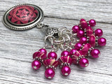 Removable Stitch Markers and Magnetic Holder- Pink Fractal Design