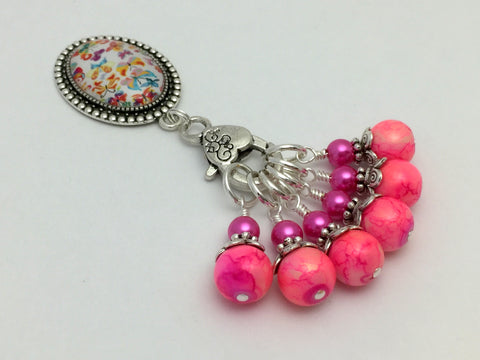 Butterfly Stitch Marker Holder with Marbled Pink Stitch Markers , Stitch Markers - Jill's Beaded Knit Bits, Jill's Beaded Knit Bits  - 6