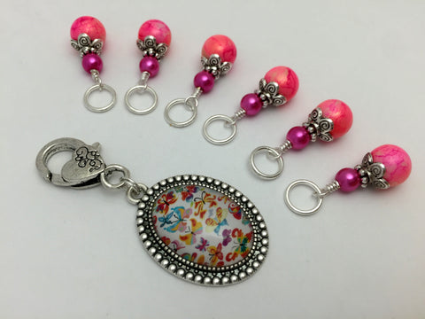 Butterfly Stitch Marker Holder with Marbled Pink Stitch Markers , Stitch Markers - Jill's Beaded Knit Bits, Jill's Beaded Knit Bits  - 5
