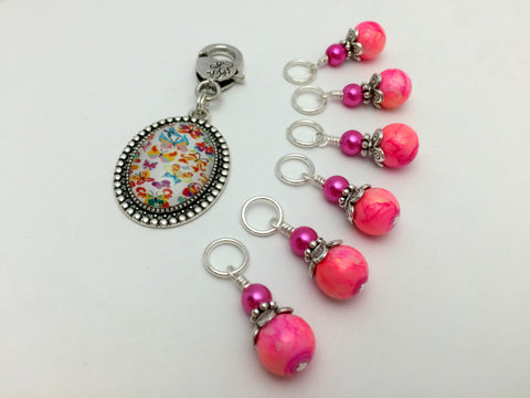 Butterfly Stitch Marker Holder with Marbled Pink Stitch Markers , Stitch Markers - Jill's Beaded Knit Bits, Jill's Beaded Knit Bits  - 2