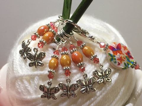 Orange Butterfly Stitch Marker Holder and Matching Butterfly Stitch Markers , Stitch Markers - Jill's Beaded Knit Bits, Jill's Beaded Knit Bits  - 4
