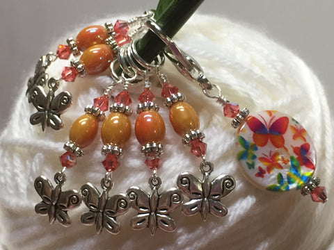 Orange Butterfly Stitch Marker Holder and Matching Butterfly Stitch Markers , Stitch Markers - Jill's Beaded Knit Bits, Jill's Beaded Knit Bits  - 5
