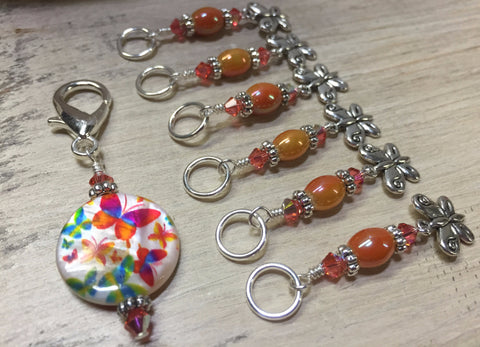Orange Butterfly Stitch Marker Holder and Matching Butterfly Stitch Markers , Stitch Markers - Jill's Beaded Knit Bits, Jill's Beaded Knit Bits  - 6