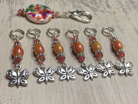 Orange Butterfly Stitch Marker Holder and Matching Butterfly Stitch Markers , Stitch Markers - Jill's Beaded Knit Bits, Jill's Beaded Knit Bits  - 1