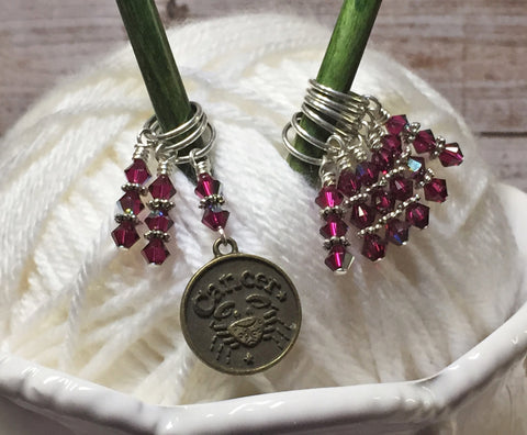 Zodiac Sign Cancer Knitting Stitch Marker Set , Stitch Markers - Jill's Beaded Knit Bits, Jill's Beaded Knit Bits  - 5