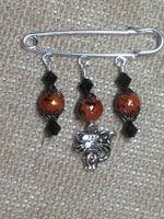 Beaded Cat Shawl Pin , Jewelry - Jill's Beaded Knit Bits, Jill's Beaded Knit Bits  - 2