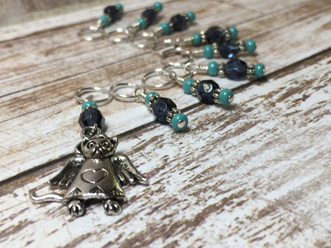 Snag Free Angel Cat Stitch Marker Set