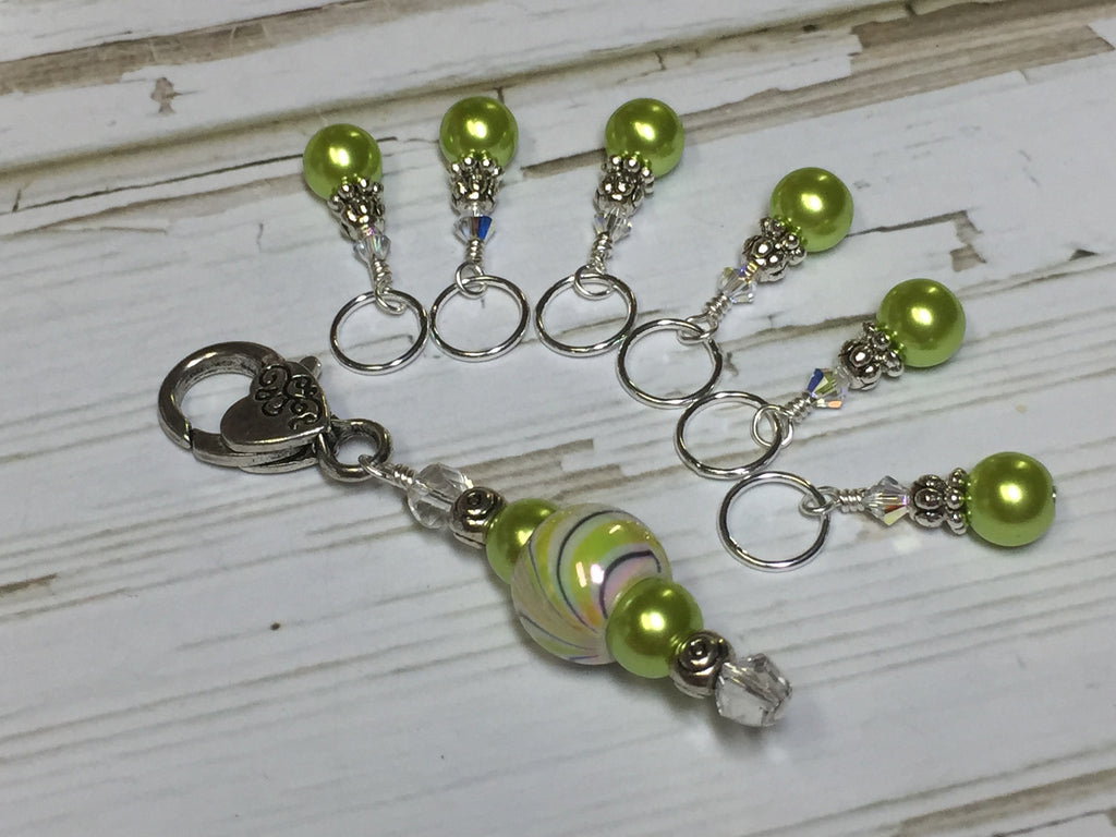 Chartreuse Green Stitch Marker Holder Set , Stitch Markers - Jill's Beaded Knit Bits, Jill's Beaded Knit Bits  - 1