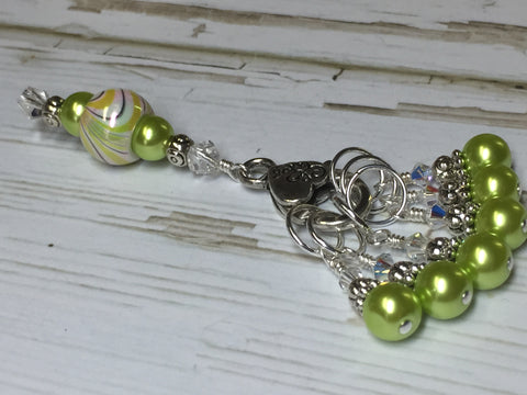 Chartreuse Green Stitch Marker Holder Set , Stitch Markers - Jill's Beaded Knit Bits, Jill's Beaded Knit Bits  - 3