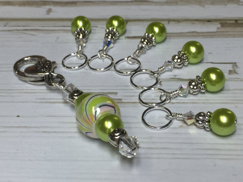 Chartreuse Green Stitch Marker Holder Set , Stitch Markers - Jill's Beaded Knit Bits, Jill's Beaded Knit Bits  - 5